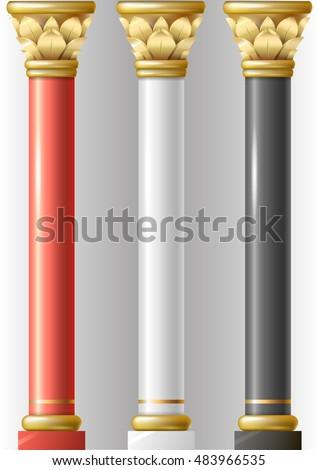 Set Different Luxury Pillars Red Black Stock Vector