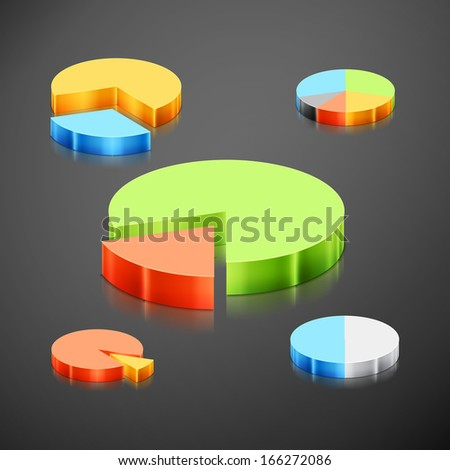 Set of different metallic pie charts. Every pie chart has 10 customizable  elements. 3d infographics pie chart - stock vector