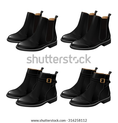 Set of different model black shoes. Boots with ankle strap. Ankle boots with side elastic gussets. - stock vector
