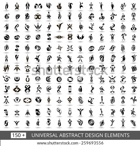 Set of different monochrome abstract flat elements for design black and white logo. Vector illustration eps 10 - stock vector