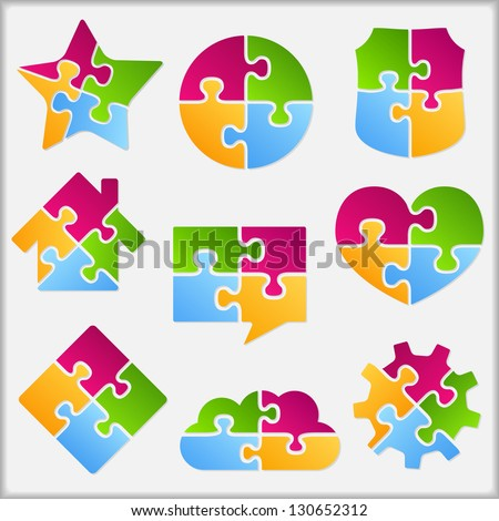 Set of different objects made of puzzle pieces, design elements for your logo, vector eps10 illustration - stock vector