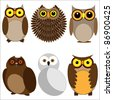 Set of different owls. Vector illustration - stock vector