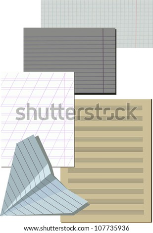 Set of different paper and sheets from notebooks, vector illustration - stock vector