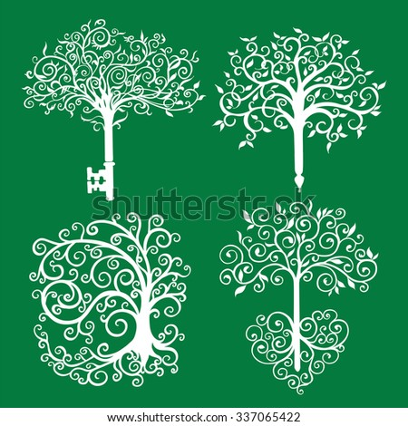 Set of different patterned openwork trees white on green as a symbol or logo