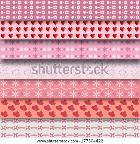 Set of 7 different patterns