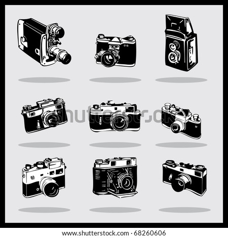 Set of different photocamers. vector - stock vector