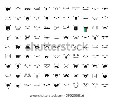 Set of 99 different pieces of doddle emotions to create characters. Emotions for design. Anime. Anger and joy. Surprised and hurt. Indifference and shock. Laughter and tears. Emotions handmade - stock vector