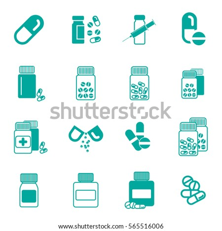 Set of Different Pill or Drug Jars Icons Isolated on White Background.