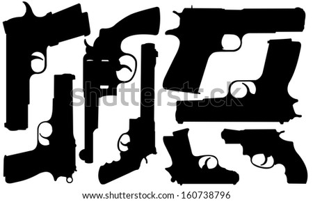 set of different pistols - stock vector