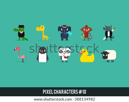 Set of different pixel art animals