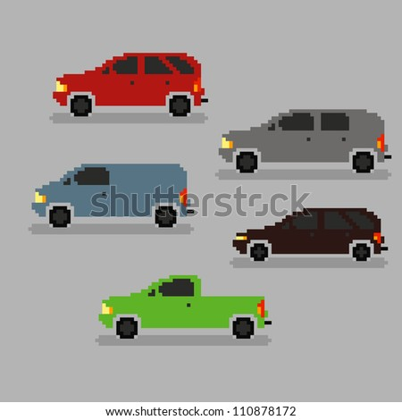 Set of different pixel art cars, vector illustration - stock vector