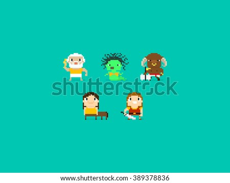 Set of different pixel art characters, greek mythology characters, gods and beasts - stock vector