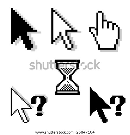 set of different pixel-cursors - stock vector