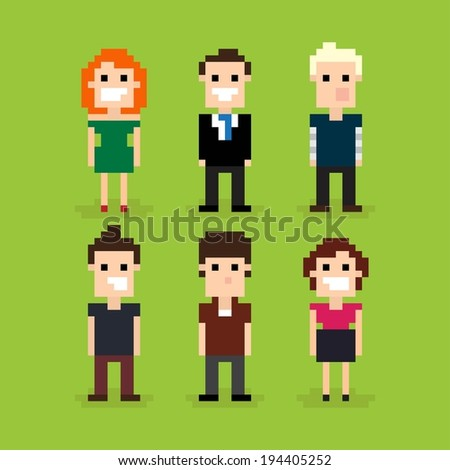 Set of different pixel people, vector illustration - stock vector