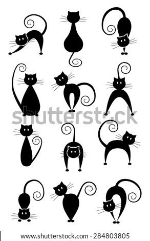 set of different pose black cats black cat silhouette collection simple graphic design