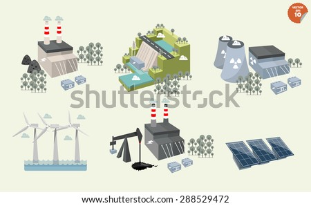 set of different power plant, graphics design of different power plant renewable and non-renewable energy sources: solar, wind, water,hydro power,petroleum, coal, geothermal, gas, nuclear and biofuel. - stock vector