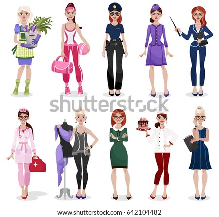 Set of different professions: doctor, teacher, fashion designer, florist, police officer, businesswoman, chef, stewardess, fitness trainer, secretary. Vector illustration isolated on white background.