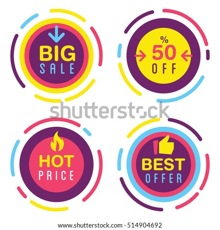 Set of different promo sales stickers in different colors with the sounds text big sale