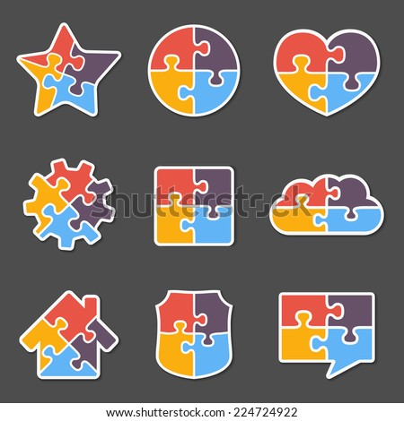 Set of different puzzle objects with four pieces, vector eps10 illustration - stock vector