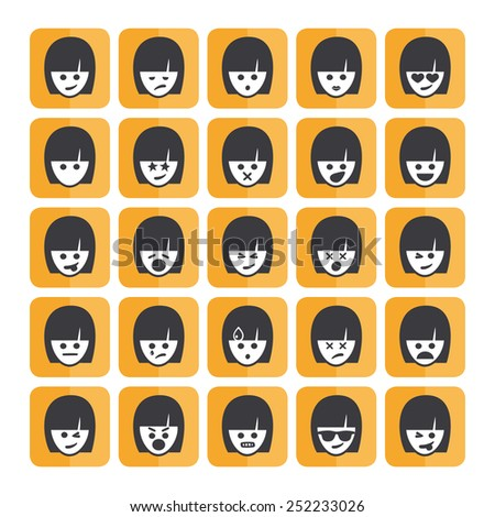 Set of different rectangular woman emoticons vector, white faces. Emoji icons representing lots of reactions, personalities and emotions - stock vector