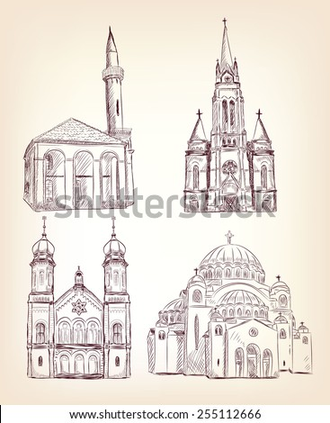 Set of different religious buildings . Vector eps10. - stock vector