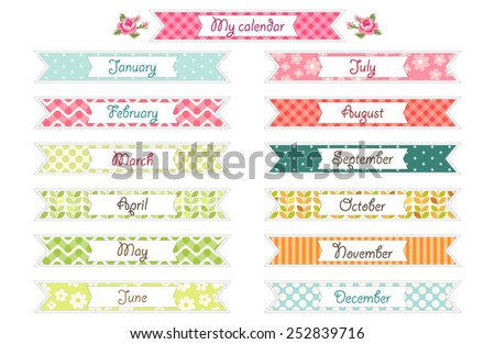 Set of different retro festive ribbons for calendar, diary or schedule decoration - stock vector