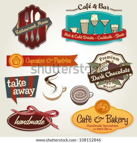 set of different retro label, sticker and icons for restaurants, bars, cafes, take away, coffee to go - stock vector