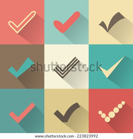 Set of different retro vector check marks or ticks. Confirmation acceptance positive passed voting agreement true or completion of tasks on a list. Red, brown and green colors. - stock vector