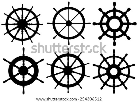 set of different rudders isolated - stock vector
