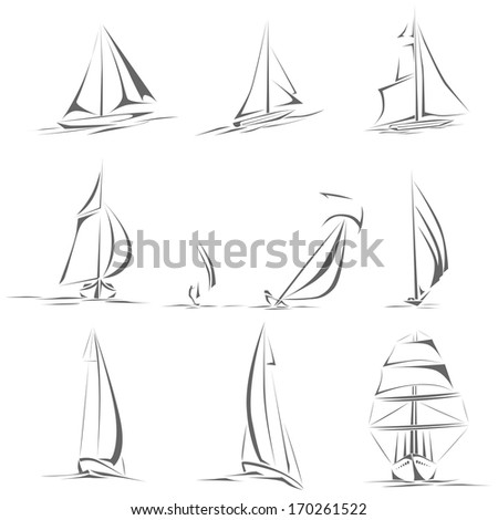 Set of different sailing ships(boat) icon in line style(simple vector). - stock vector