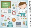 Set of different school items with a boy. - stock vector