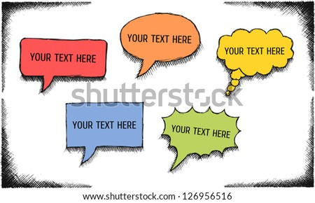 Set of different shaped comics bubbles with hatched shadows. Vector illustration. - stock vector
