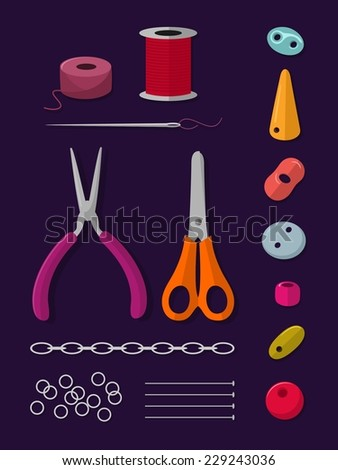 Set of different shapes of beads with needle, string, pliers and other jewelry making accessories - stock vector