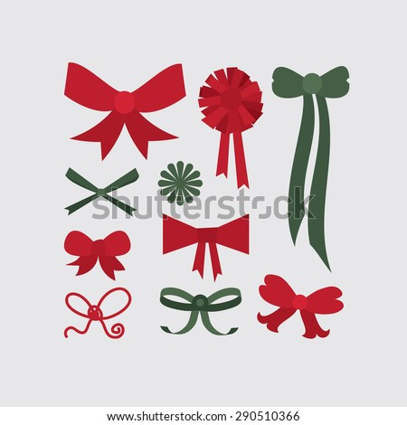 Set of different shapes of bows in red and green colors - stock vector