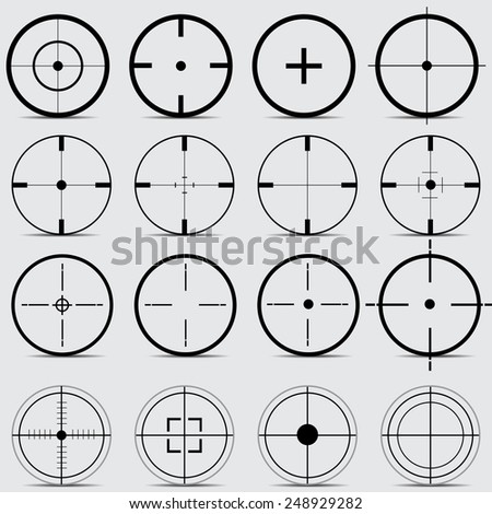 Set of different sights on a gray background vector - stock vector