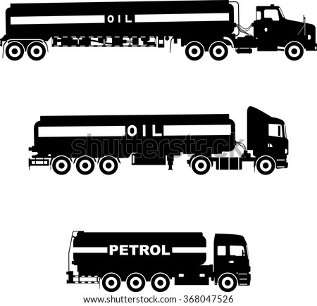Set of different silhouettes gasoline trucks isolated on a white background. Vector illustration. - stock vector