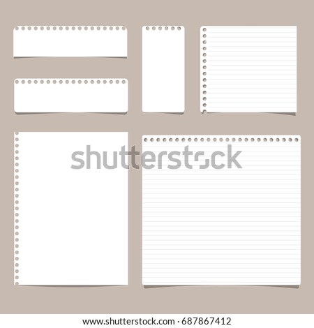 Set of different size ruled and blank note, notebook, copybook paper sheets.