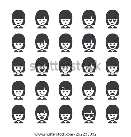 Set of different smileys vector, woman faces. Emoji icons representing lots of reactions, personalities and emotions - stock vector