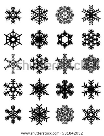 Set of different snowflakes, vector