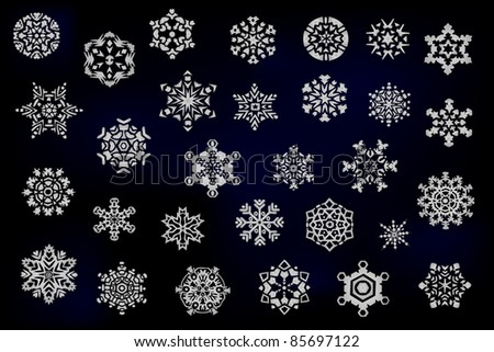 Set of different snowflakes vector - stock vector