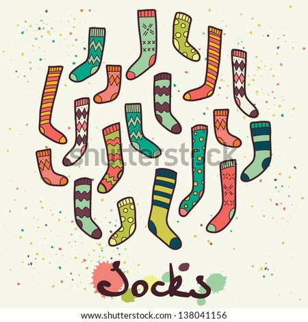 Set of different socks in circle. Round shape made of hand drawn doodle socks. Vector illustration. - stock vector