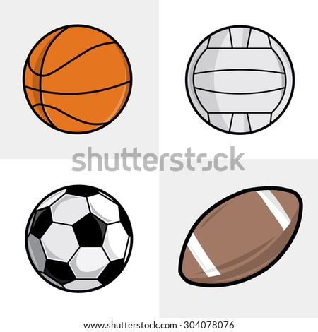 Set of different sport balls. Football, basketball, volleyball and soccer balls. Vector illustration