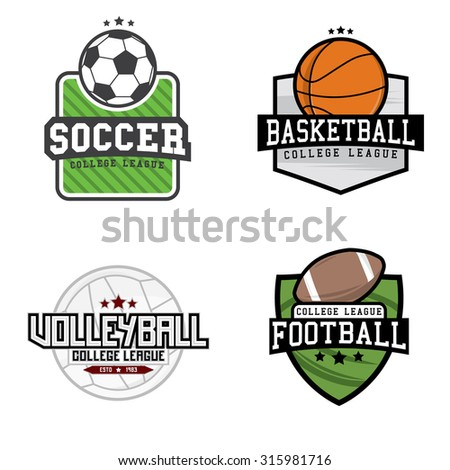 """Set of different sport logo (football, soccer, volleyball and basketball) with """"college league"""" text. Vector illustration - stock vector"""