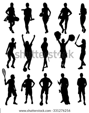 Set Of Different Sports Activity Silhouettes. Vector Image
