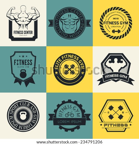 Set of different sports and fitness logo templates. Gym logotypes. Athletic labels and badges made in vector. Bodybuilder, fit man, athlete icon.   - stock vector