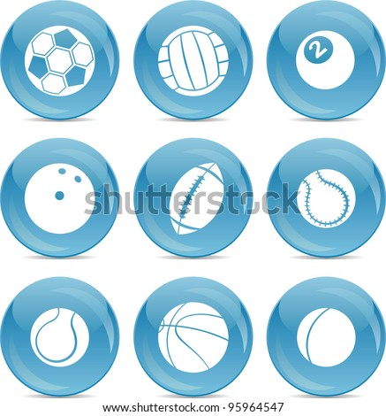 set of different sports balls - stock vector