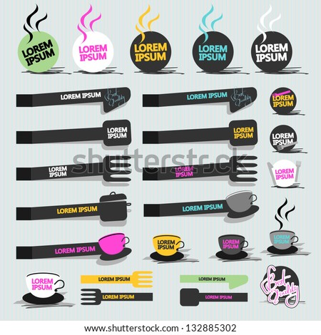 Set Of Different Stickers Isolated On Gray Background - Vector Illustration, Graphic Design Editable For Your Design. Sticker Logo - stock vector