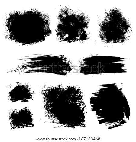 Set Different Strokes Thick Paint Textured Stock Vector 167183468