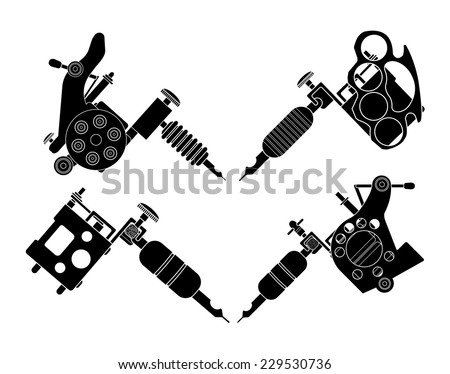 Set of 4 different style realistic tattoo machines icons. Revolver tattoo machine, knuckle duster tattoo gun. Invert black and white color illustration isolated on white - stock vector