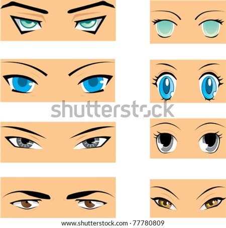 Set of different styles of manga eyes - stock vector